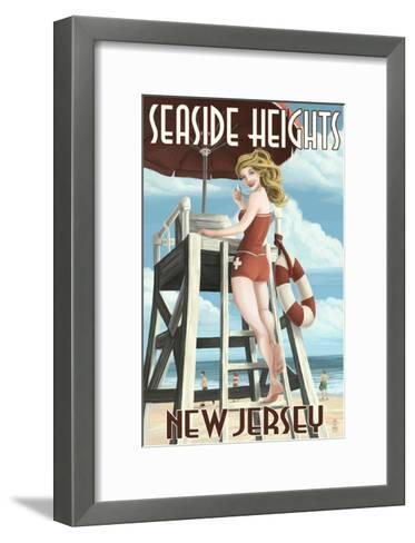 Seaside Heights, New Jersey - Lifeguard Pinup Girl-Lantern Press-Framed Art Print