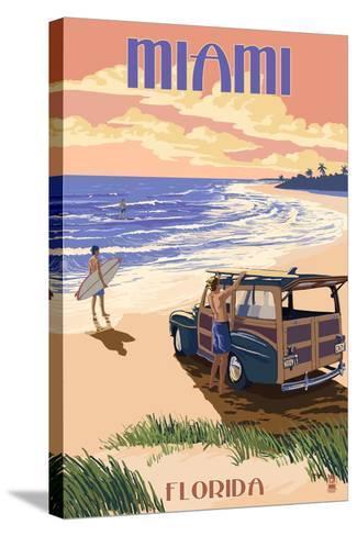 Miami, Florida - Woody on the Beach-Lantern Press-Stretched Canvas Print