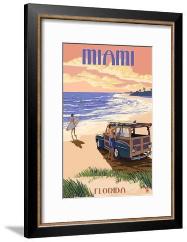 Miami, Florida - Woody on the Beach-Lantern Press-Framed Art Print