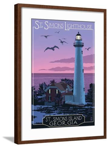 St. Simons, Georgia - Lighthouse-Lantern Press-Framed Art Print
