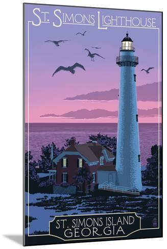 St. Simons, Georgia - Lighthouse-Lantern Press-Mounted Art Print