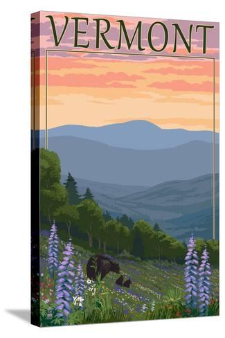 Vermont - Spring Flowers and Bear Family-Lantern Press-Stretched Canvas Print