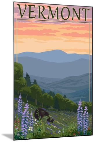 Vermont - Spring Flowers and Bear Family-Lantern Press-Mounted Art Print