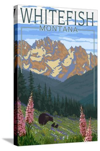 Whitefish, Montana - Bear and Spring Flowers-Lantern Press-Stretched Canvas Print