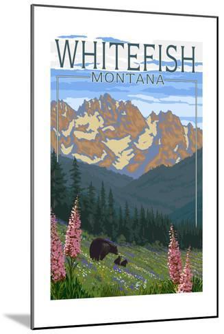 Whitefish, Montana - Bear and Spring Flowers-Lantern Press-Mounted Art Print
