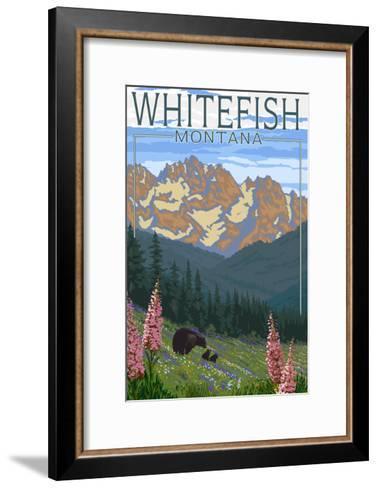Whitefish, Montana - Bear and Spring Flowers-Lantern Press-Framed Art Print