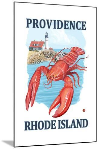 Providence, Rhode Island - Lobster and Lighthouse-Lantern Press-Mounted Art Print