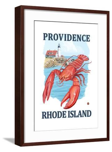 Providence, Rhode Island - Lobster and Lighthouse-Lantern Press-Framed Art Print