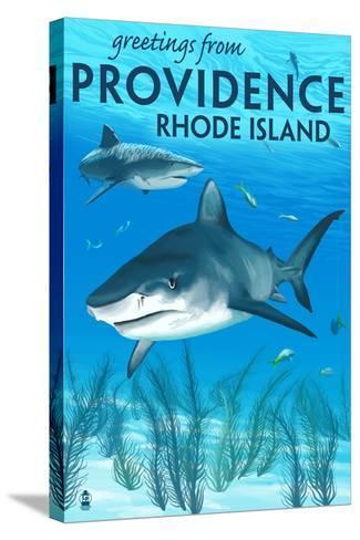 Providence, Rhode Island - Tiger Shark-Lantern Press-Stretched Canvas Print