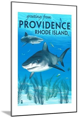 Providence, Rhode Island - Tiger Shark-Lantern Press-Mounted Art Print