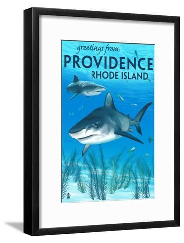 Providence, Rhode Island - Tiger Shark-Lantern Press-Framed Art Print