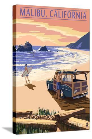 Malibu, California - Woodies on the Beach-Lantern Press-Stretched Canvas Print