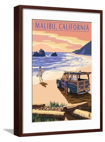 Malibu, California - Woodies on the Beach-Lantern Press-Framed Art Print