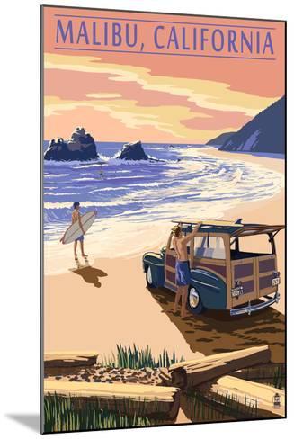 Malibu, California - Woodies on the Beach-Lantern Press-Mounted Art Print