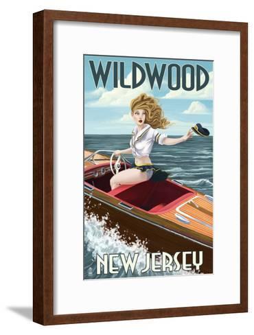 Wildwood, New Jersey - Boating Pinup Girl-Lantern Press-Framed Art Print