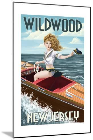 Wildwood, New Jersey - Boating Pinup Girl-Lantern Press-Mounted Art Print