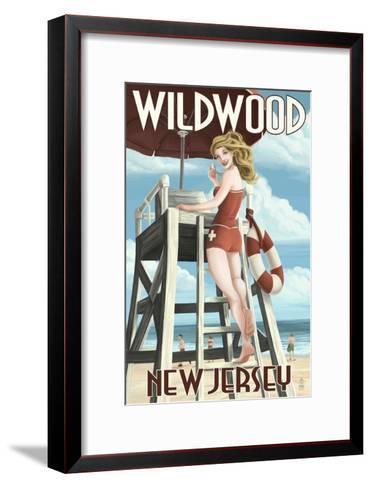 Wildwood, New Jersey - Lifeguard Pinup Girl-Lantern Press-Framed Art Print