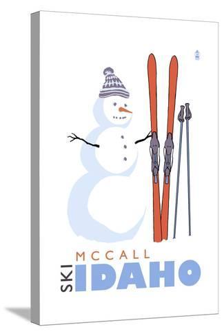 McCall, Idaho - Snowman with Skis-Lantern Press-Stretched Canvas Print