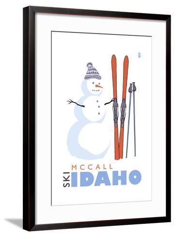 McCall, Idaho - Snowman with Skis-Lantern Press-Framed Art Print