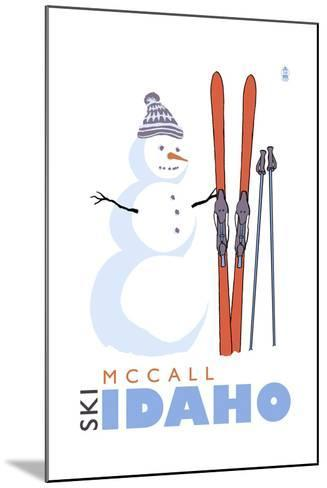 McCall, Idaho - Snowman with Skis-Lantern Press-Mounted Art Print
