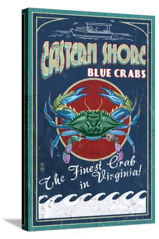 Blue Crabs Vintage Sign - Eastern Shore, Virginia-Lantern Press-Stretched Canvas Print