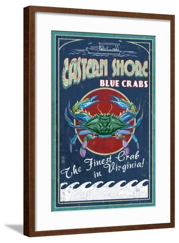 Blue Crabs Vintage Sign - Eastern Shore, Virginia-Lantern Press-Framed Art Print