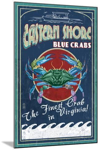 Blue Crabs Vintage Sign - Eastern Shore, Virginia-Lantern Press-Mounted Art Print