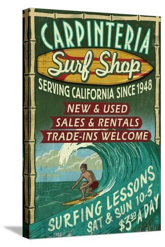 Carpinteria, California - Surf Shop Vintage Sign-Lantern Press-Stretched Canvas Print