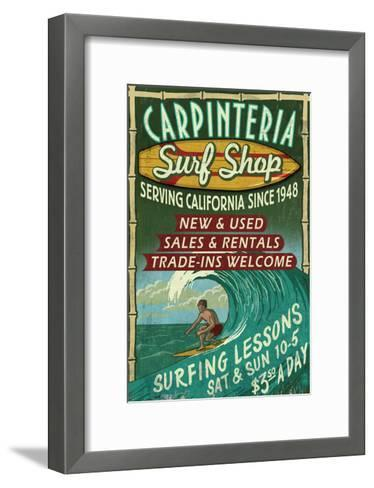 Carpinteria, California - Surf Shop Vintage Sign-Lantern Press-Framed Art Print