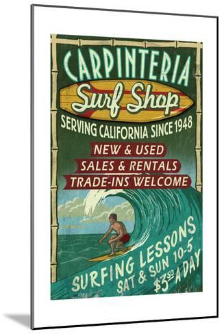 Carpinteria, California - Surf Shop Vintage Sign-Lantern Press-Mounted Art Print