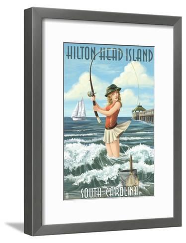 Hilton Head Island, South Carolina - Pinup Surfer Fishing-Lantern Press-Framed Art Print