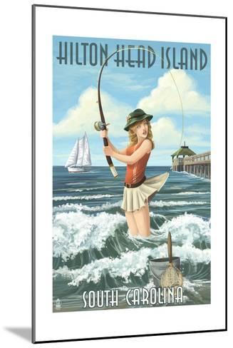 Hilton Head Island, South Carolina - Pinup Surfer Fishing-Lantern Press-Mounted Art Print