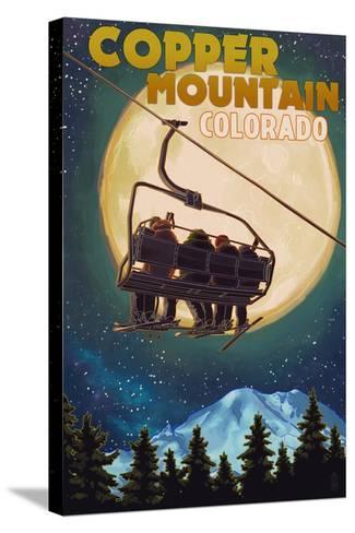 Copper Mountain, Colorado - Ski Lift and Full Moon-Lantern Press-Stretched Canvas Print