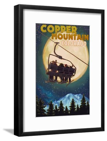 Copper Mountain, Colorado - Ski Lift and Full Moon-Lantern Press-Framed Art Print