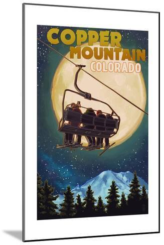 Copper Mountain, Colorado - Ski Lift and Full Moon-Lantern Press-Mounted Art Print