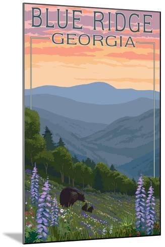 Blue Ridge Georgia - Bear Family and Spring Flowers-Lantern Press-Mounted Art Print