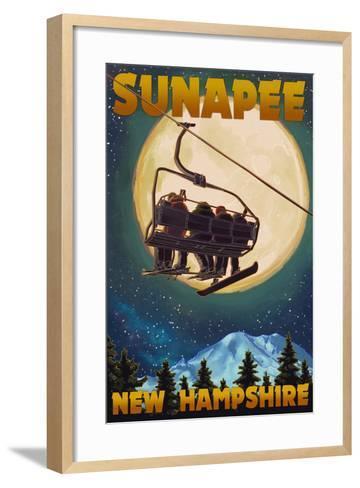 Sunapee, New Hampshire - Ski Lift and Full Moon-Lantern Press-Framed Art Print