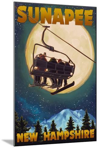Sunapee, New Hampshire - Ski Lift and Full Moon-Lantern Press-Mounted Art Print