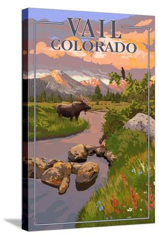 Vail, Colorado - Moose and Meadow Scene-Lantern Press-Stretched Canvas Print
