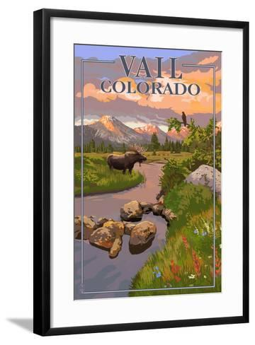 Vail, Colorado - Moose and Meadow Scene-Lantern Press-Framed Art Print