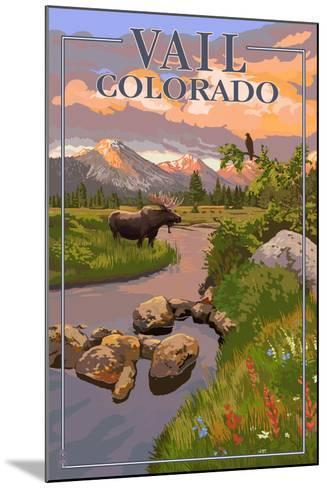 Vail, Colorado - Moose and Meadow Scene-Lantern Press-Mounted Art Print