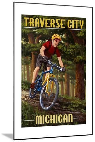 Traverse City, Michigan - Mountain Biker in Trees-Lantern Press-Mounted Art Print