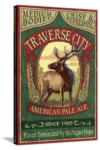 Traverse City, Michigan - Elk Head Pale Ale Vintage Sign-Lantern Press-Stretched Canvas Print