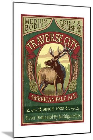 Traverse City, Michigan - Elk Head Pale Ale Vintage Sign-Lantern Press-Mounted Art Print