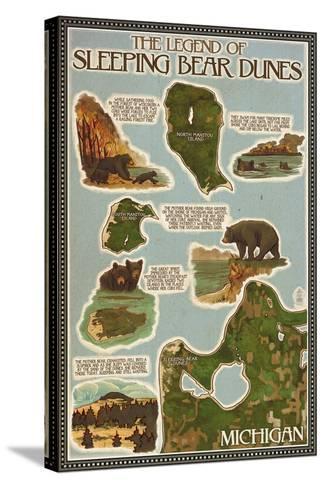 Sleeping Bear Dunes, Michigan - Sleeping Bear Dunes Legend Map-Lantern Press-Stretched Canvas Print