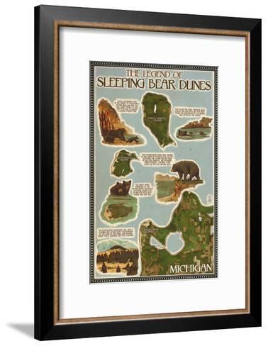 Sleeping Bear Dunes, Michigan - Sleeping Bear Dunes Legend Map-Lantern Press-Framed Art Print