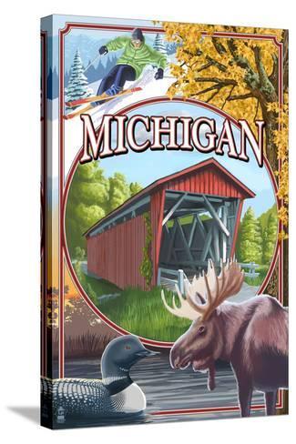 Michigan - Michigan Scene Montage-Lantern Press-Stretched Canvas Print