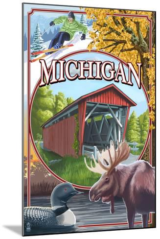 Michigan - Michigan Scene Montage-Lantern Press-Mounted Art Print