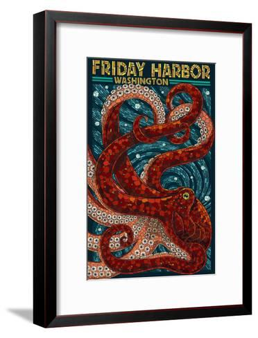 Friday Harbor, San Juan Island, WA - Ocotpus Mosaic-Lantern Press-Framed Art Print