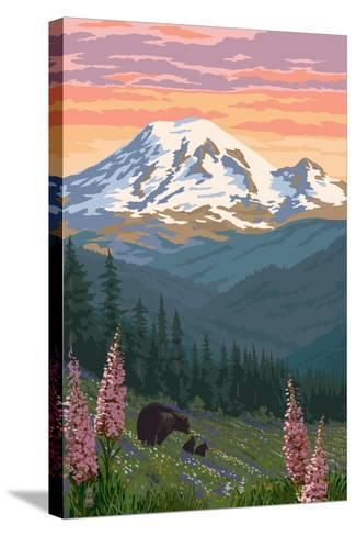 Bear Family and Spring Flowers (Rainier Background)-Lantern Press-Stretched Canvas Print